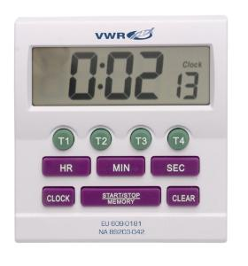 VWR® 4-Channel Electronic Timer and Clock with Certificate of Calibration