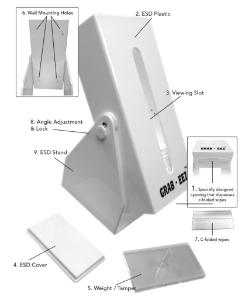GRAB-EEZ™ ESD Cleanroom Wipe Dispenser and Wipes, High-Tech Conversions
