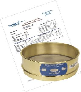 """VWR® Pre-Certified Calibration Grade 8"""" Test Sieves, Brass and Stainless Steel"""