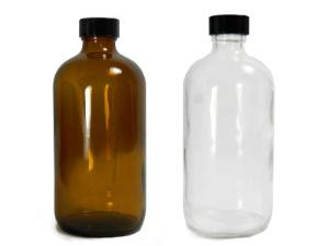 Boston Round Bottles, Narrow Mouth, Clear and Amber