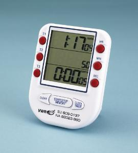 VWR® 3-Channel Electronic Timer and Clock with Certificate of Calibration