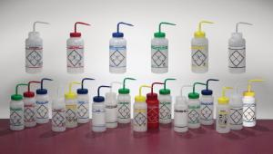 Bel-Art F11646-0622 Science Ware 2-Color Safety-Labeled Wash Bottle Red Polypropylene Cap Pack of 12 Acetone Label LDPE