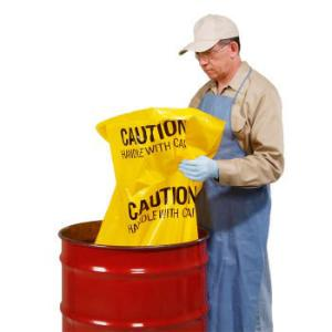 Polyethylene Disposal Bags, Caution–Handle with Care, New Pig