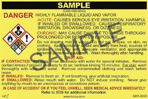 GH1 OSHA/GHS Chemical Label