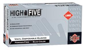 High Five Industrial Grade Blue Disposable Vinyl Gloves, Powder-Free, Microflex®