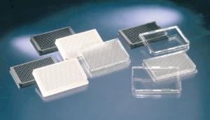 Nunc Polystyrene Polymer Base Black 384 Well Cell Culture Treated Optical Bottom Plates with Lid Case of 10 Sterile