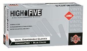 High Five Industrial Grade Blue Disposable Vinyl Gloves Powder-Free Microflex