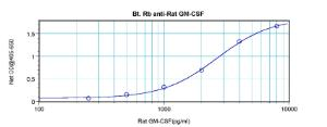 To detect Rat GM-CSF by direct ELISA (using 100 ml/well) a concentration of approximately 1.0 ug/ml of this antibody is required. This biotinylated polyclonal antibody allows the detection of at least 0.2 – 0.4 ng/well of recombinant Rat GM-CSF.
