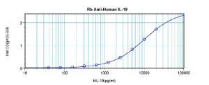 Sandwich ELISA: using 100 ul/well antibody solution, a concentration of 0.5 - 2.0 ug/ml of this antibody is required. This antibody, in conjunction with Biotinylated Anti-Human IL-19 (38-132) as a detection antibody, allows the detection of at least 0.2 - 0.4 ng/well of recombinant hIL-19.