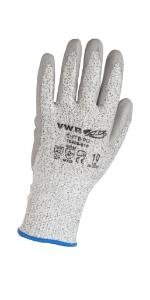 Cut protection gloves, PU coating, gray