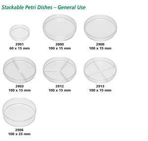 Kord-Valmark Disposable Polystyrene Petri Dishes, Stackable, Akro-Mils
